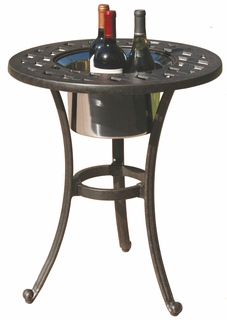 "DL30-RQ Darlee 21"" Round End Patio Table / Ice in Cast-Aluminum with an Antique Bronze Finish"