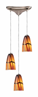 541-3JAS Elk 3 Light Pendant in Satin Nickel and Jasper Glass (DISCONTINUED ITEM)