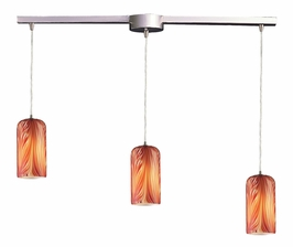 544-3L-ML Elk 3 Light Pendant in Satin Nickel and Molten Lava Glass (DISCONTINUED ITEM)