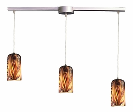 544-3L-MS Elk 3 Light Pendant in Satin Nickel and Molten Sunset Glass (DISCONTINUED ITEM)
