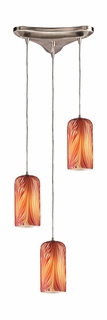 544-3ML Elk 3 Light Pendant in Satin Nickel and Molten Lava Glass (DISCONTINUED ITEM)