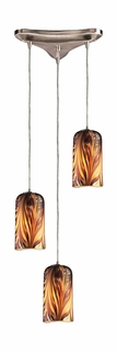 544-3MS Elk 3 Light Pendant in Satin Nickel and Molten Sunset Glass (DISCONTINUED ITEM)