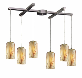 544-6MH Elk 6 Light Pendant in Satin Nickel and Molten Honey Glass (DISCONTINUED ITEM)