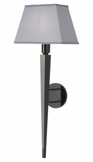 1097-ASL-2061 Thumprints Lighting Obsidian Black Nickel Plated, Steel Wall Sconce with Black Granite Back Plate