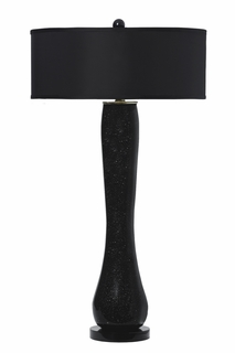 1090-ASL-2054 Thumprints Lighting Moondust Triple Layer Blown Glass Table Lamp, Black with Bronze Speckles