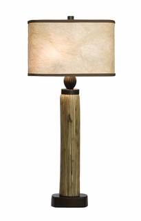 1083-ASL-2047 Thumprints Lighting Calico Grooved Ceramic Table Lamp