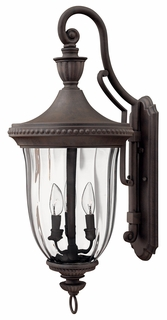 1245MN Hinkley Oxford Midnight Bronze 120v Candelabra 3 Light Large Outdoor Wall Fixture