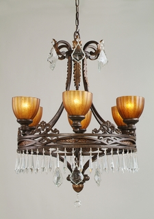 C6946-ES-CL-MWP Crystorama Lighting Wrought Iron Chandelier Handpainted With Amber Glass Drapped With Clear Crystal