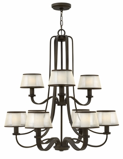 4968OB Hinkley Prescott Olde Bronze 120v Candelabra 9 Light Chandelier