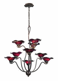 10186/9PUR Elk Villa 9-Light Chandelier Purple Glass in Weathered Rust (DISCONTINUED ITEM)