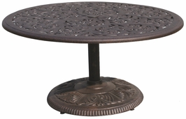 "DL80-P Darlee 42"" Round Pedestal Patio Tea Table in Cast-Aluminum Top with an Antique Bronze Finish"