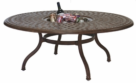"201060-Q Darlee 52"" Round Tea Patio Table / Ice Bucket Insert in Cast-Aluminum with a Mocha or Antique Bronze Finish"