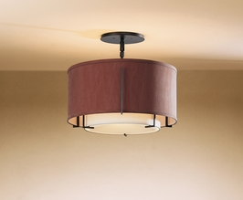 12-6501F Hubbardton Forge Fluorescent Exos Double Shade Semi Flush