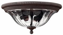 1243MN Hinkley Oxford Midnight Bronze 120v 2 Light Outdoor Flush Mount