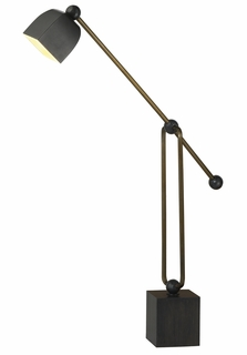 1029-C11-TL03 Thumprints Lighting Collins Antique Brass Task Lamp Plated Steel Hardware and Oil Rubbed Bronze Accents