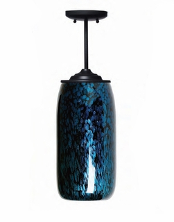 1025-C07-PL01 Thumprints Lighting Galaxy Blue Blown Glass Pendant Light