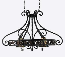 TFFR5102VA Quoizel Lighting Lighting Fruit Harvest Tiffany Pot Rack With Downlights in Valiant Bronze with SPECIAL PRICING!!