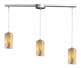 544-3L-MH Elk 3 Light Pendant in Satin Nickel and Molten Honey Glass (DISCONTINUED ITEM)