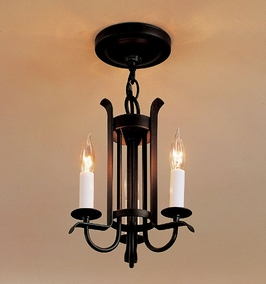 12-3130 Hubbardton Forge Three-Arm Wrought Iron Foyer Light