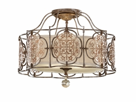 SF285BRB/OBZ Murray Feiss Marcella 3 Light Indoor Semi Flush Mount in British Bronze / Oxidized Bronze