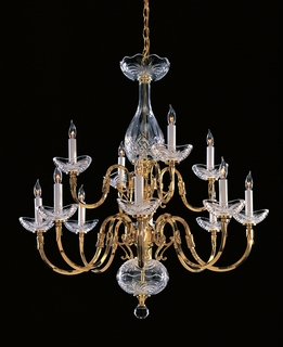 469-PB Crystorama Historical Brass 12 Light 24% Lead Crystal Chandelier