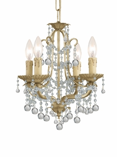 4634-CM Crystorama Lena 4 Light Lena Mini Chandelier Adorned with Clear Murano Crystal Beads