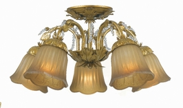 4745-GL Crystorama Primrose 5 Light Swarovski Spectra Beads Draped Onto A Delicate Wrought Iron Frame