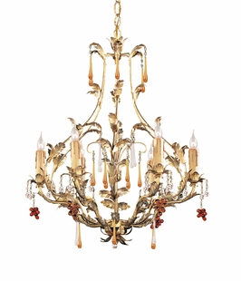 4606-GL Crystorama Ritz 6 Light Ritz Chandelier Adorned with Amber Colored Murano Crystal