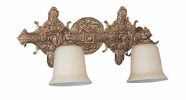 472-AB Crystorama Hot Deal 2 Light Ornate Solid Cast Brass Bath Bar
