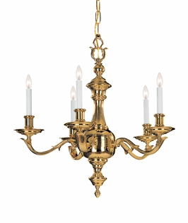 C455-PB Crystorama Lighting Traditional Solid Brass Chandelier