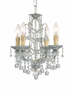 C4634-SL Crystorama Lighting Lena Mini Chandelier Adorned With Clear Murano Crystal Beads