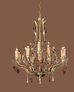 4609-GL Crystorama Ritz 12 Light Ritz Chandelier Adorned with Amber Colored Murano Crystal