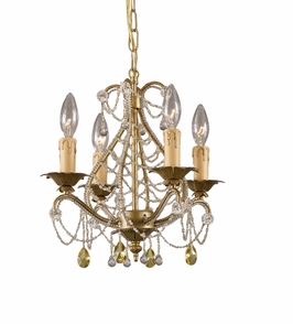 4714-GL Crystorama Abigail Mini Chandelier Adorned with Light Topaz Swarovski Strass Crystal