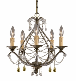 4715-BI Crystorama Abigail Mini Chandelier Adorned with Light Topaz Swarovski Strass Crystal
