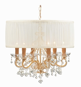 C4517-CM-SAW-CL Crystorama Lighting Paris Flea Chandelier Adorned With Clear Murano Crystal Accented With A Fabric Shade