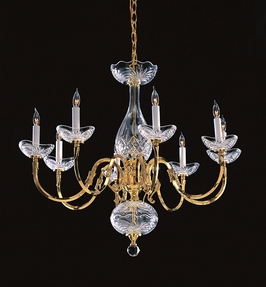 468-PB Crystorama Historical Brass 24% Lead Crystal Chandelier