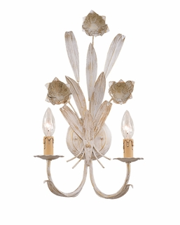 4812-AW Crystorama Lighting (2) Light Southport Handpainted Wrought Iron Wall Sconce