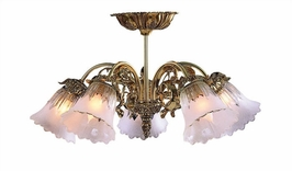 C465-OB-SF-T Crystorama Lighting Cast Brass Chandelier Accented With Traditional Glass