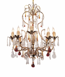 4708-GL Crystorama Venice Chandelier Adorned with Amber Colored Murano Crystal