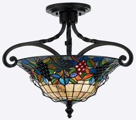 TFFR1719VA Quoizel Lighting Fruit Harvest Semi-Flush Mount with Valiant Bronze Finish