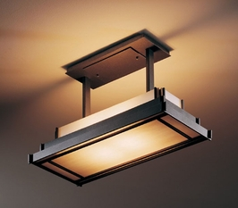 12-3719 Hubbardton Forge Steppe Wrought Iron Semi-Flush Prairie Drop Rectangle