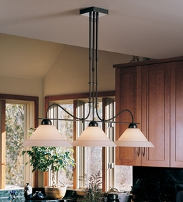 13-2123-20-D Hubbardton Forge Prairie Adjustable Three-Light Wrought Iron Pendant Display Light