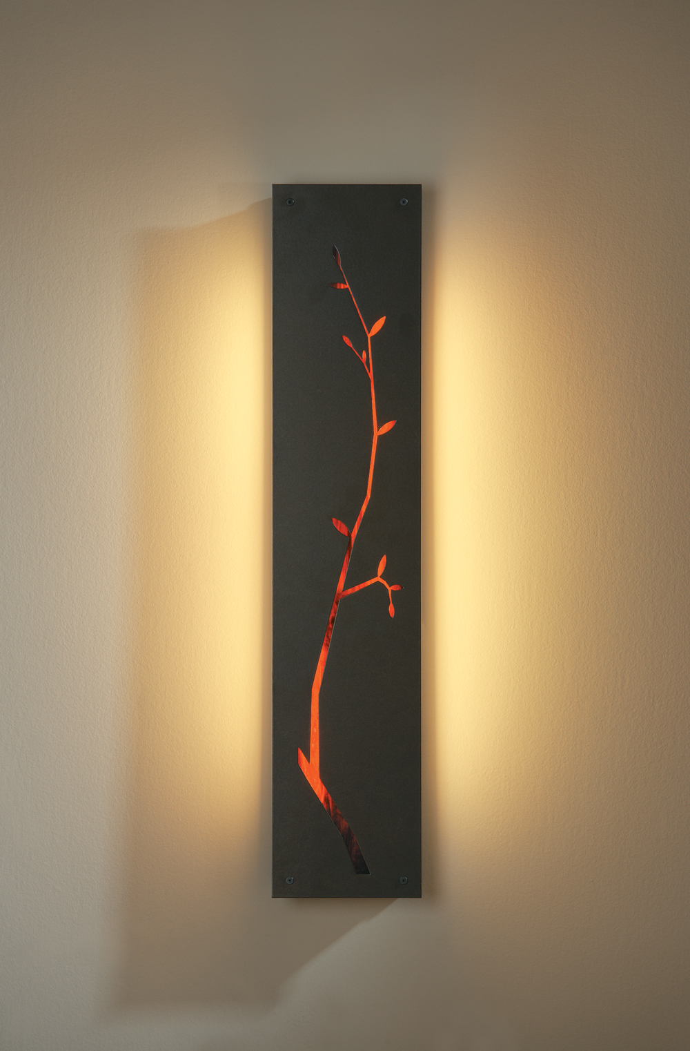 21-7710F Hubbardton Forge Fluorescent Leaf Silhouette Art Glass Wall ...