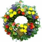Rainbow Funeral Wreath