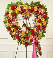 Always Remember Floral Heart Tribute - Bright