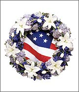 Patriotic Theme Funeral Flower Wreath