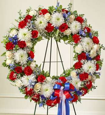 Serene Blessing Standing Wreath-Red/White/Blue