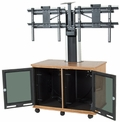 Da-Lite Video Conferencing Equipment Rack Cart w/Wood Finish for Dual Monitors