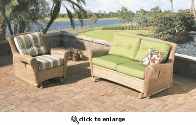 Tahiti Glider Cushions with Fran's Indoor/Outdoor Fabrics (UPS $25)