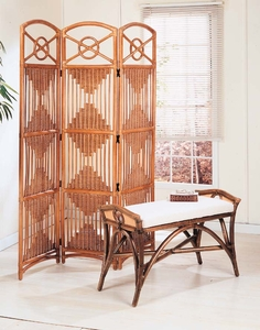 Diamond Screen & Arched Rattan Bench